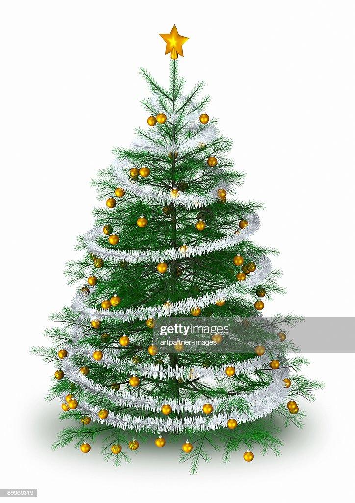 Christmas Tree with golden Christmas Balls : Stock Photo