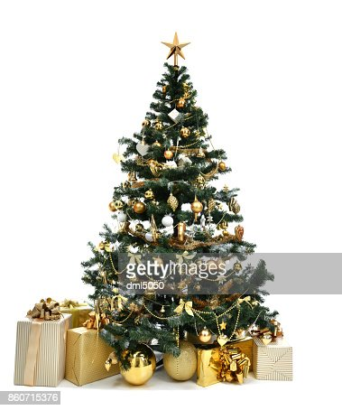 Christmas tree with golder patchwork ornament artificial star hearts presents for new year 2018 : Stock Photo