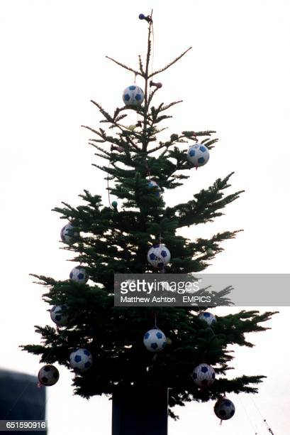 A christmas tree with hanging balls