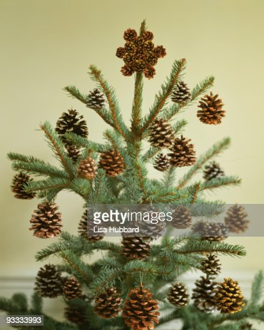 Christmas tree with pine cone decorations stock photo for Pine cone tree decorations