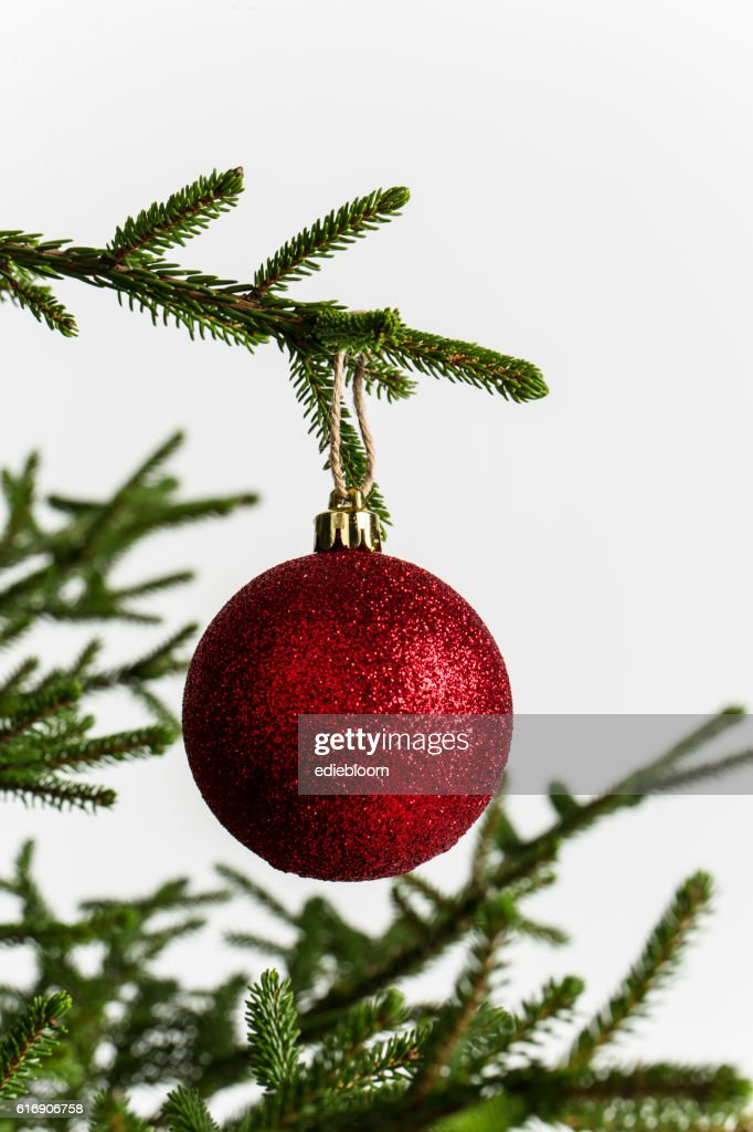 Christmas tree  with red ball isolated on white : Stock Photo