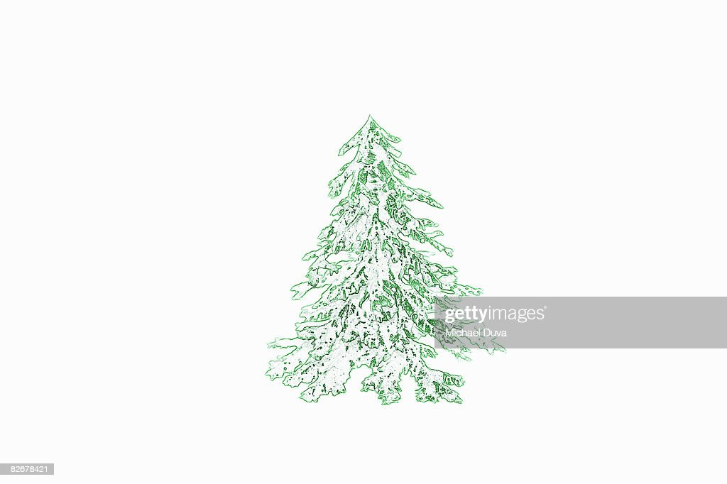 Christmas tree with snow line drawing photo getty images