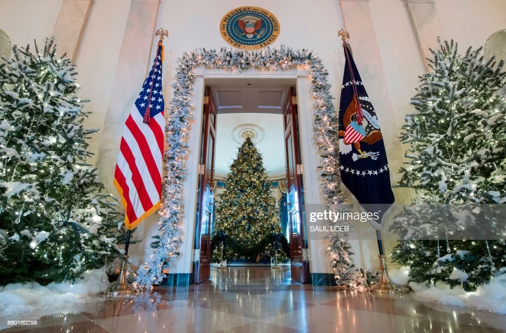 Christmas trees are seen during a preview of holiday decorations in the Grand Foyer of the White House in Washington, DC, November 27, 2017. /