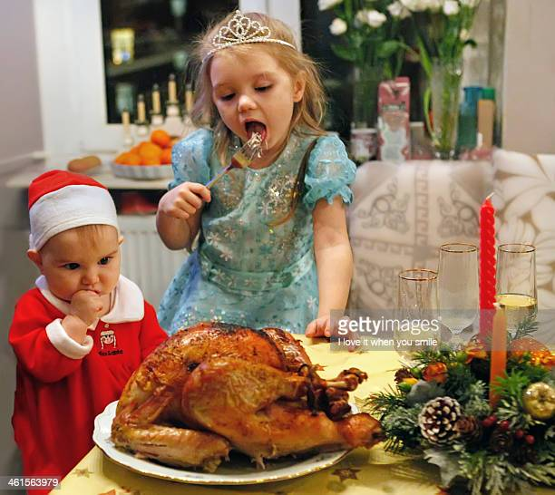 Christmas turkey and children