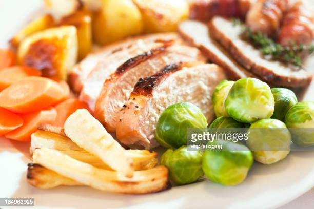 Christmas turkey dinner with Brussels sprouts