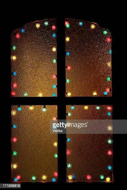 Christmas window on black