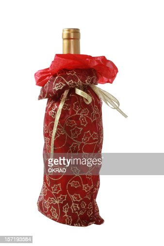 Christmas Wine Gift Bag Isolated on a white background