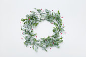Christmas, wreath, holly, flat lay