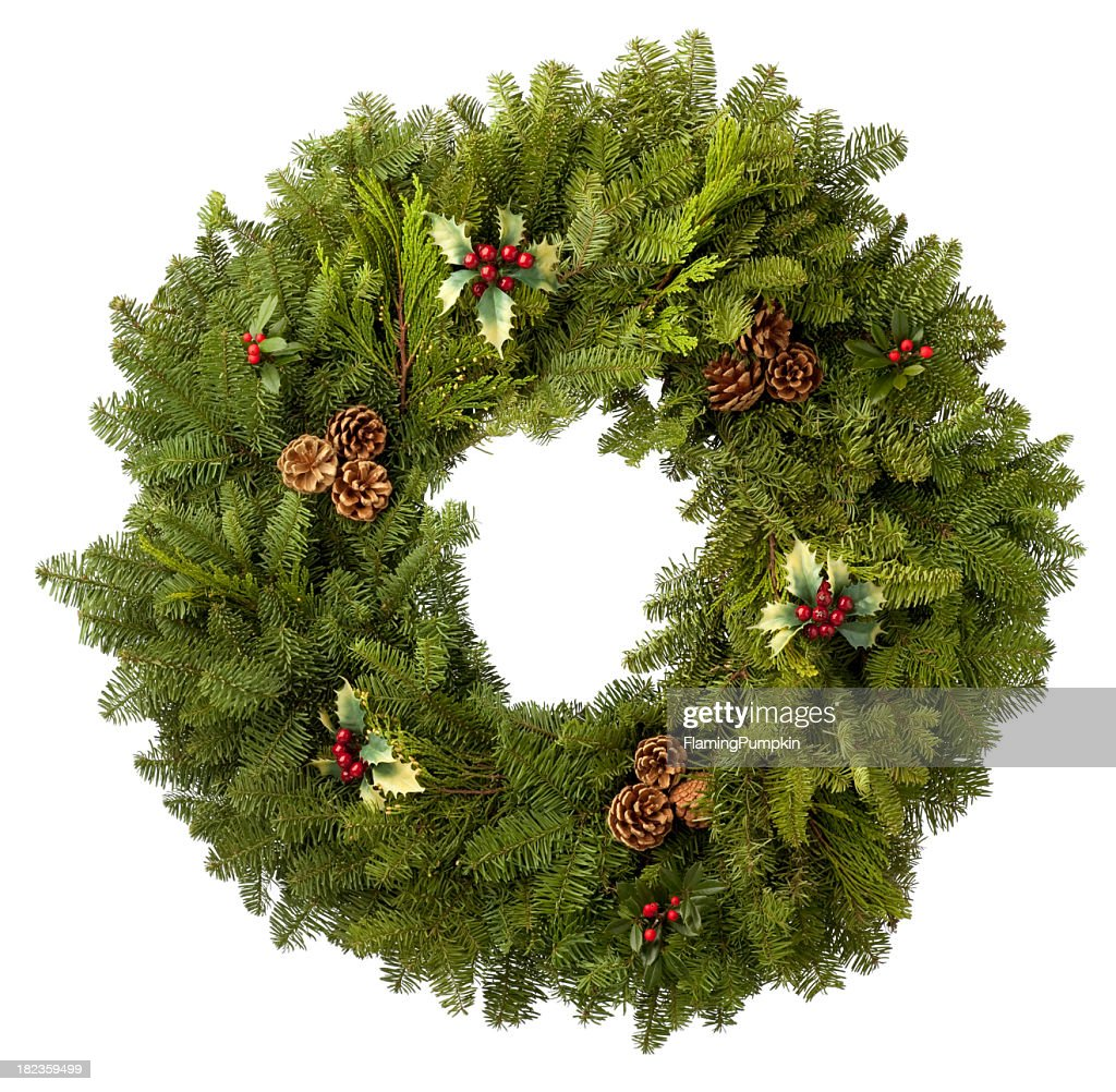 Christmas Wreath of evergreens. Isolated on White Background.