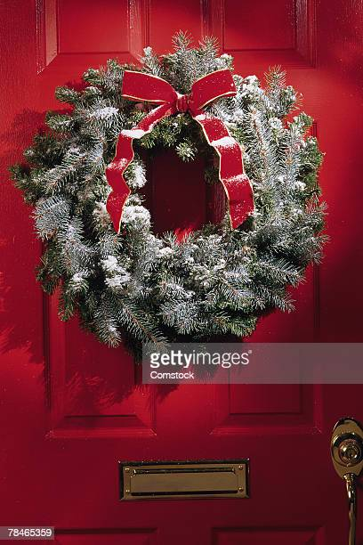 Christmas wreath on outside of door