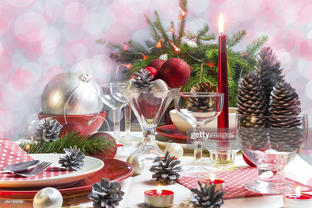 Christmas xmas eve table setting supper : Stock Photo