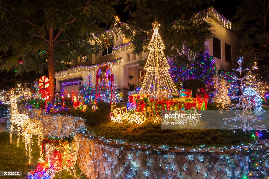 Christmas-decorated home in Saugus, California