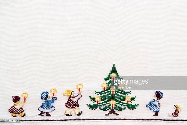 クリスマスタイム、手作り napking 、コピースペース付き