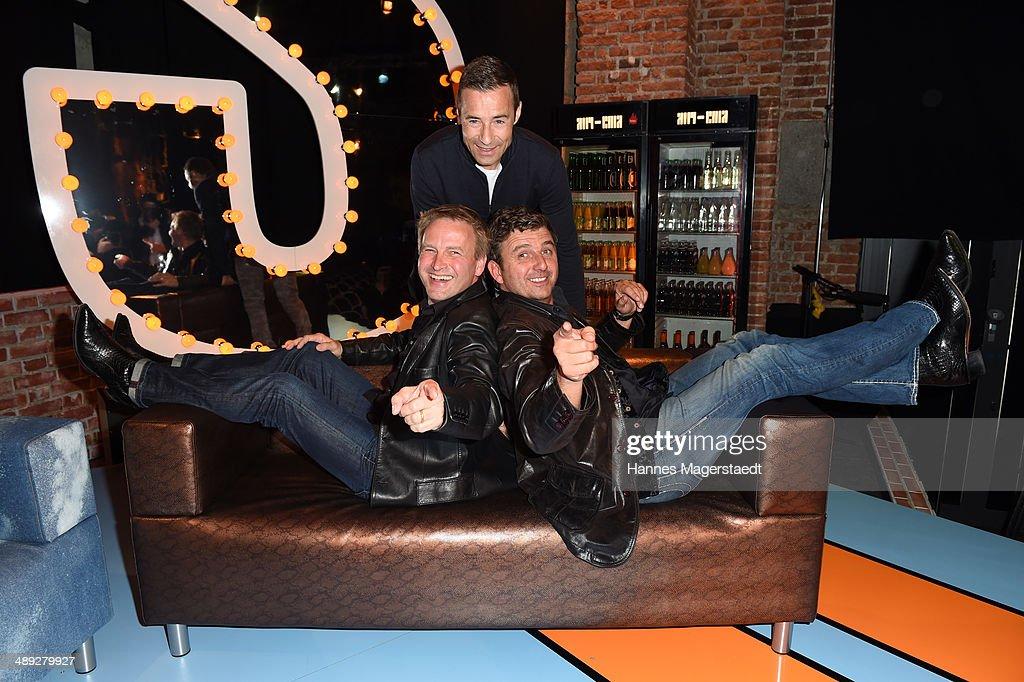 Christof Hintze, Kai Plaume and Hans Sigl attend the 'Hintze und Sigl - der Live-Satire-Talk' Photocall at Freiheiz on May 10, 2014 in Munich, Germany.