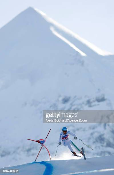 Christof Innerhofer of Italy attends the Audi FIS Alpine Ski World Cup Men's Downhill training on January 11 2012 in Wengen Switzerland