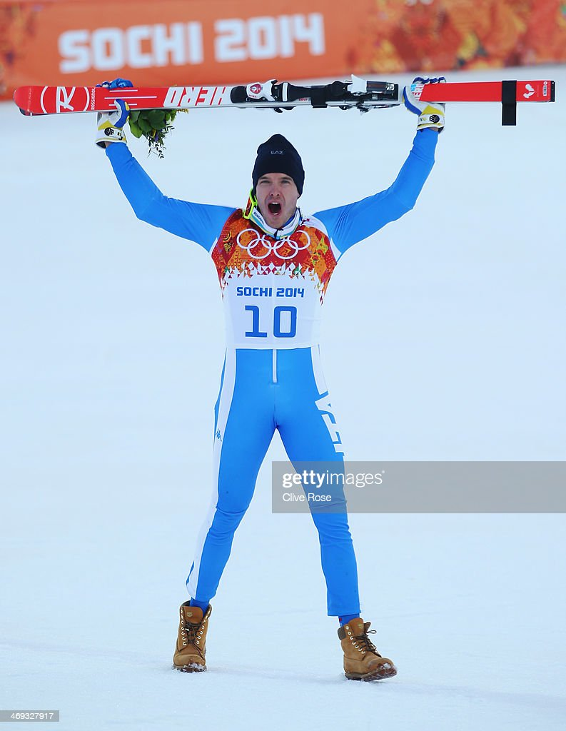 Christof Innerhofer of Italy celebrates after the Alpine Skiing Men's Super Combined Downhill on day 7 of the Sochi 2014 Winter Olympics at Rosa Khutor Alpine Center on February 14, 2014 in Sochi, Russia.