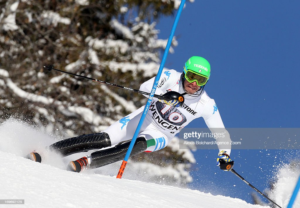 Christof Innerhofer of Italy competes during the Audi FIS Alpine Ski World Cup Men's Super Combined on January 18, 2013 in Wengen, Switzerland.
