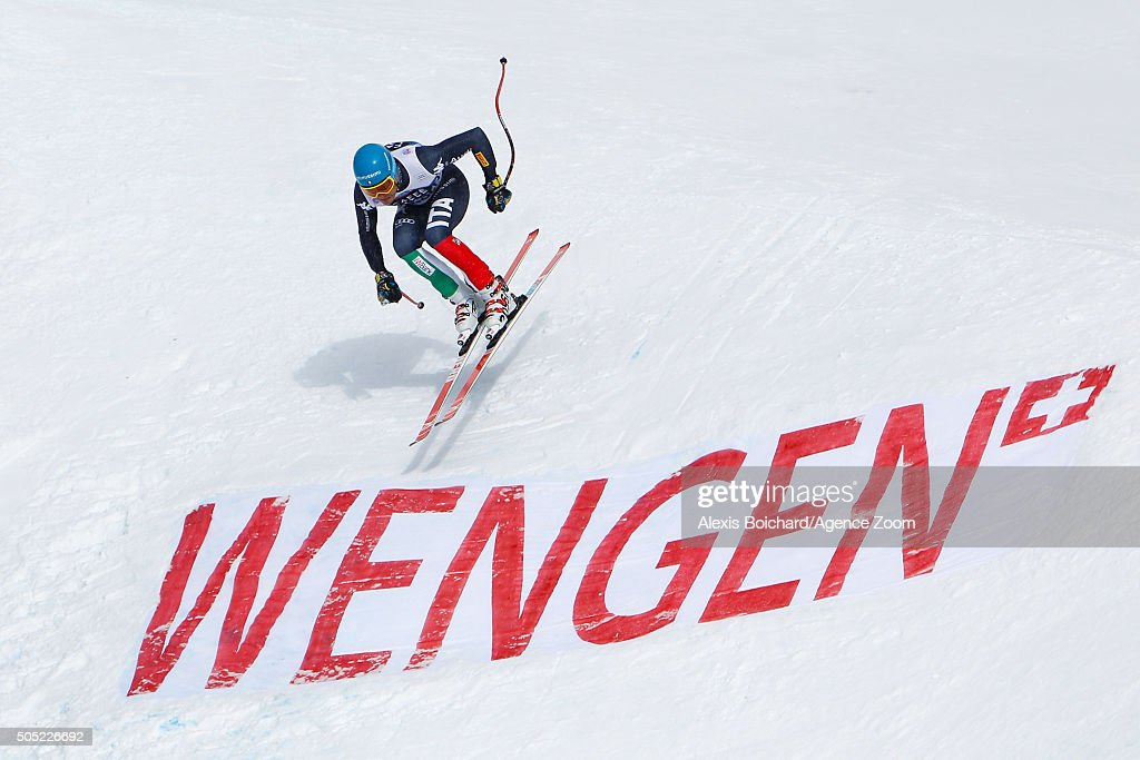 Christof Innerhofer of Italy competes during the Audi FIS Alpine Ski World Cup Men's Downhill on January 16 2016 in Wengen Switzerland