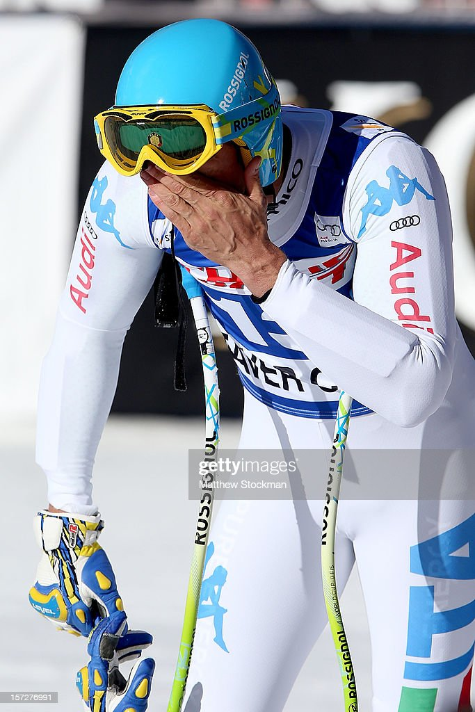 <a gi-track='captionPersonalityLinkClicked' href=/galleries/search?phrase=Christof+Innerhofer&family=editorial&specificpeople=4104734 ng-click='$event.stopPropagation()'>Christof Innerhofer</a> #13 of Italy cools down in the finish area after his run during the men's Super G on the Birds of Prey at the Audi FIS World Cup on December 1, 2012 in Beaver Creek, Colorado.