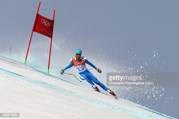 Christof Innerhofer of Italy crashes out during the Alpine Skiing Men's SuperG at the Sochi 2014 Winter Olympic Games at Rosa Khutor Alpine Centre on...