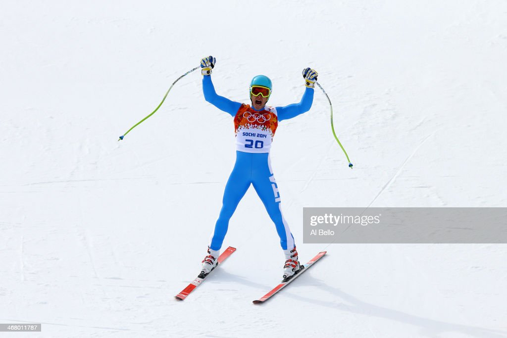 Christof Innerhofer of Italy finishes a run during the Alpine Men's Downhill on day two of the Sochi 2014 Winter Olympics at Rosa Khutor Alpine Center on February 9, 2014 in Sochi, Russia.