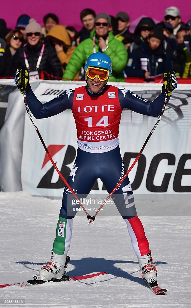 Christof Innerhofer of Italy reacts at the finish during the 8th men's super G event at the FIS Alpine Ski World Cup at the Jeongseon Alpine Centre in Jeongseon county, some 150 kms east of Seoul, on February 7, 2016. The FIS Ski Men's World Cup runs from February 6 to 7 and is the first official test event for the Pyeongchang 2018 Winter Olympics. AFP PHOTO / JUNG YEON-JE / AFP / JUNG YEON-JE