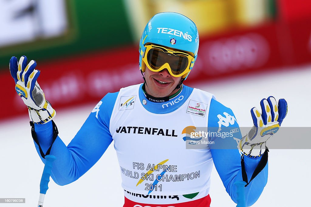 Christof Innerhofer of Italy reacts in the finish area after competing in the Men's Super G event during the Alpine FIS Ski World Championships on February 6, 2013 in Schladming, Austria.