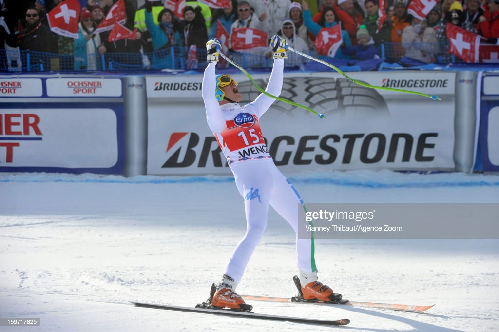 <a gi-track='captionPersonalityLinkClicked' href=/galleries/search?phrase=Christof+Innerhofer&family=editorial&specificpeople=4104734 ng-click='$event.stopPropagation()'>Christof Innerhofer</a> of Italy takes 1st place during the Audi FIS Alpine Ski World Cup Men's Downhill on January 19, 2013 in Wengen, Switzerland.