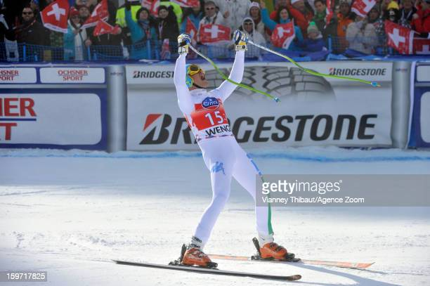 Christof Innerhofer of Italy takes 1st place during the Audi FIS Alpine Ski World Cup Men's Downhill on January 19 2013 in Wengen Switzerland