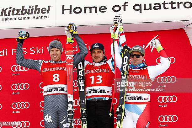 Christof Innerhofer of Italy takes 2nd place Matthias Mayer of Austria takes 1st place Beat Feuz of Switzerland takes 3rd place during the Audi FIS...