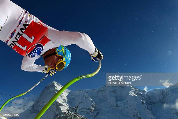 Christof Innerhofer of Italy takes the start of the Men's World Cup Downhill training on January 16 2013 in Wengen AFP PHOTO / OLIVIER MORIN
