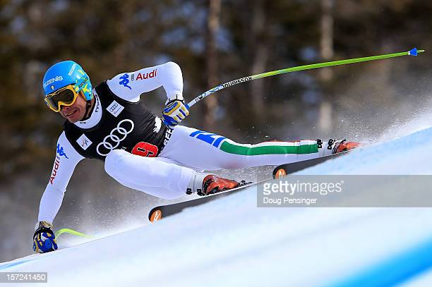 Christof Innerhofer of Itay skis to first place in the men's downhill on the Birds of Prey at the Audi FIS World Cup on November 30 2012 in Beaver...