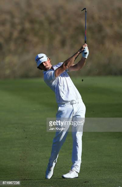 Christofer Blomstrand of Sweden in action during the final round of the European Tour Qualifying School Final Stage at Lumine Golf Club on November...