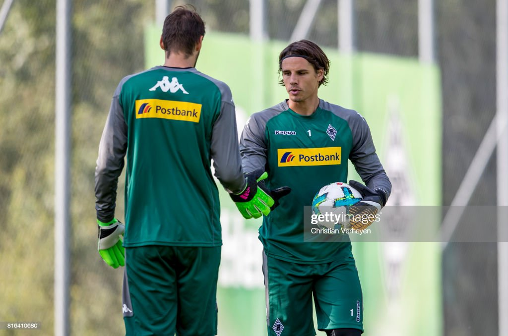 Christofer Heimeroth and Yann Sommer of Borussia Moenchengladbach during a training session at the Training Camp of Borussia Moenchengladbach on July 17, 2017 in Rottach-Egern, Germany.