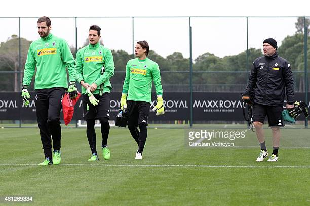 Christofer Heimeroth Janis Blaswich Yann Sommer and Goalkeeper Coach Uwe Kamps of Borussia Moenchengladbach during a training session at day three of...