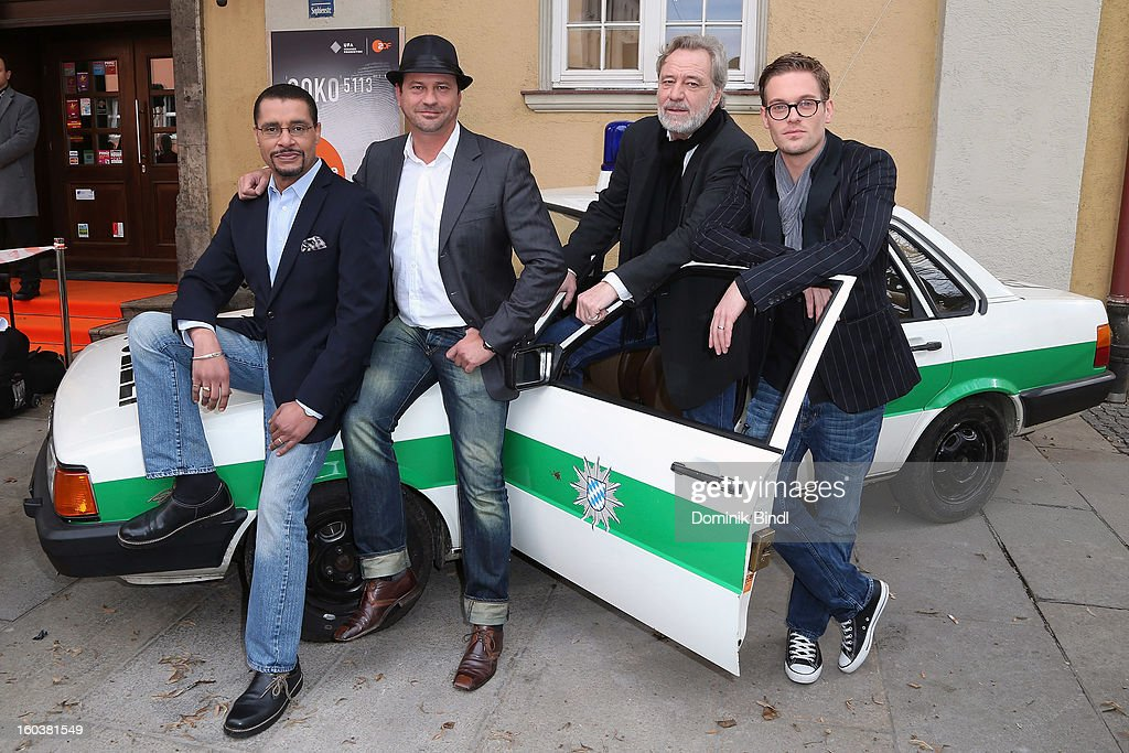Christofer von Beau, Michel Guillaume, Gerd Silberbauer and Joscha Kiefer attend the 35 years anniversary of the tv show 'Soko 5113' on January 30, 2013 in Munich, Germany.