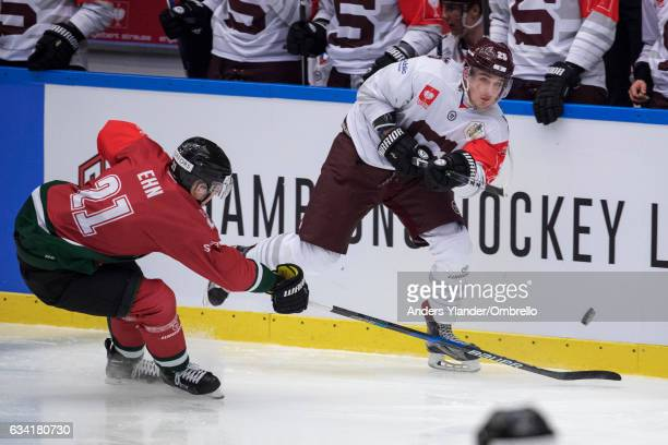 Christoffer Ehn of the Frolunda Gothenburg challenges Ondrej Prochazka of the Sparta Prague of Prague during the Champions Hockey League Final...