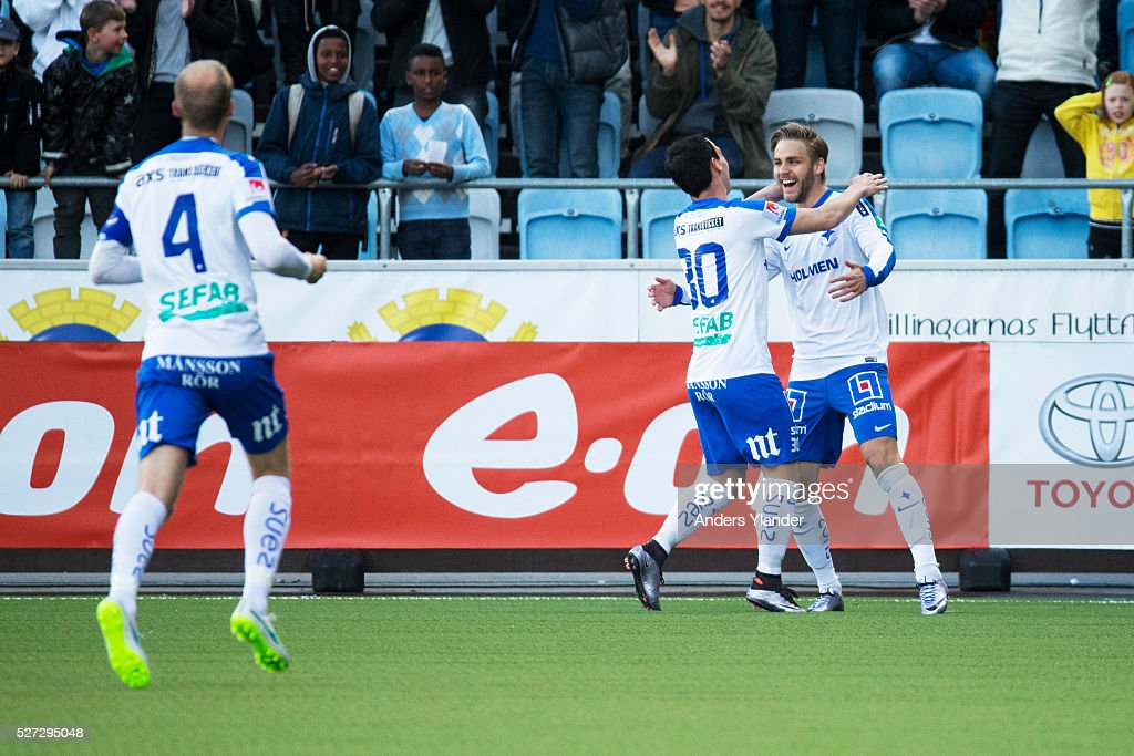 Christoffer Nyman of IFK Norrkoping and Nikola Tkalcic of IFK Norrkoping celabrates a goal (1-0) during the Allsvenskan match between IFK Norrkoping and Helsingborgs IF at Ostgotaporten on May 2, 2016 in Norrkoping, Sweden.