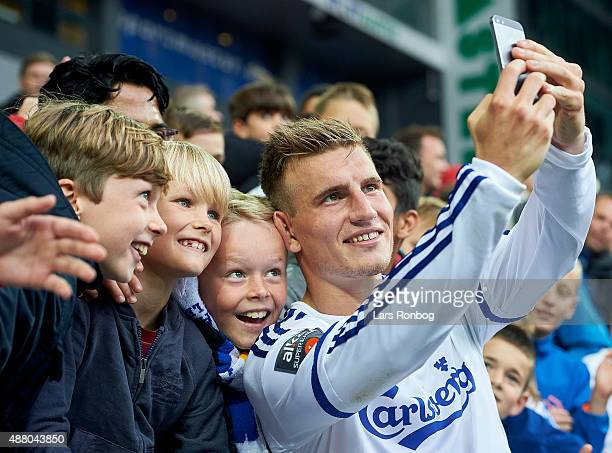 Christoffer Remmer of FC Copenhagen having his selfie taken with the young fans after the Danish Alka Superliga match between FC Copenhagen and AaB...