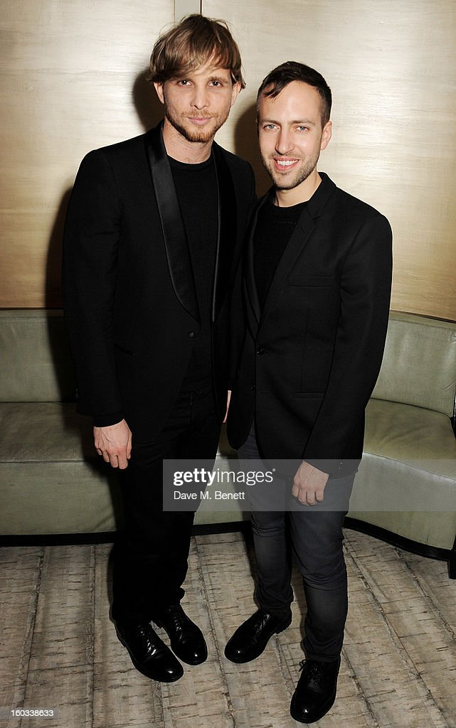 Christoper de Vos (L) and Peter Pilotto attend the BFC/Vogue Designer Fashion Fund winners announcement at Nobu Berkeley on January 29, 2013 in London, England.