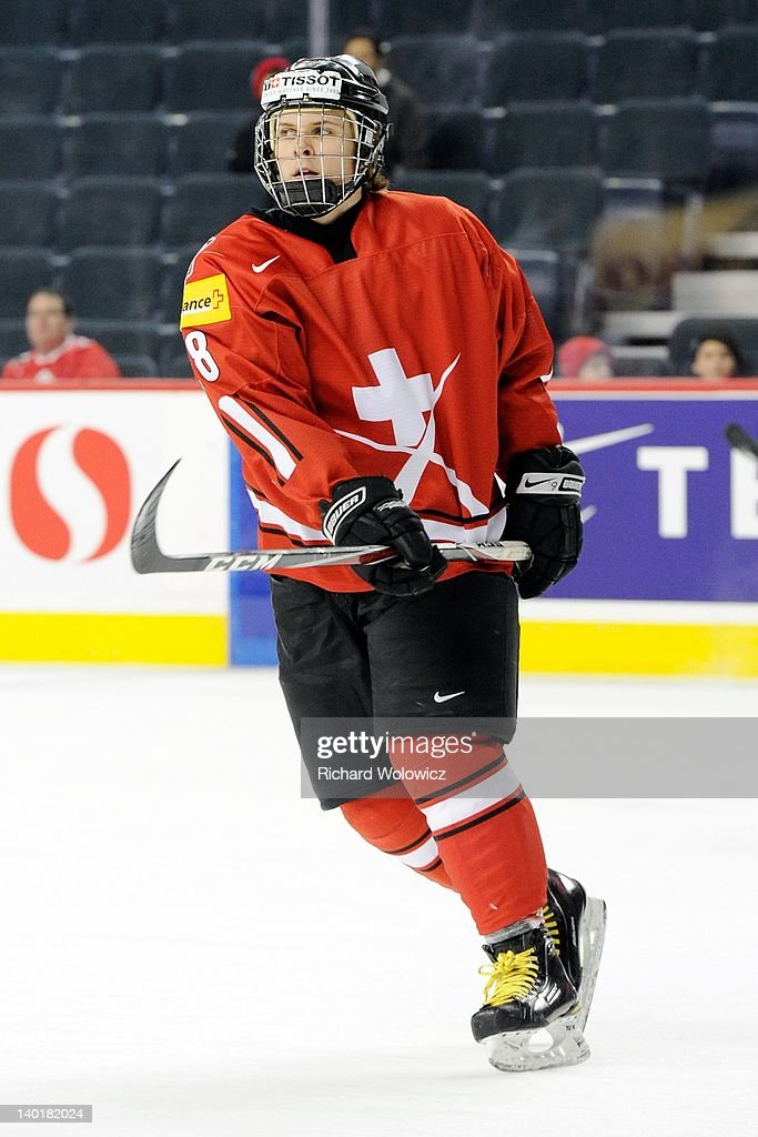 Christoph Bertschy #28 of Team Switzerland skates during the warm up period prior to facing Team Denmark in their 2012 World Junior Hockey Championship game at the Saddledome on January 2, 2012 in Calgary, Alberta, Canada.