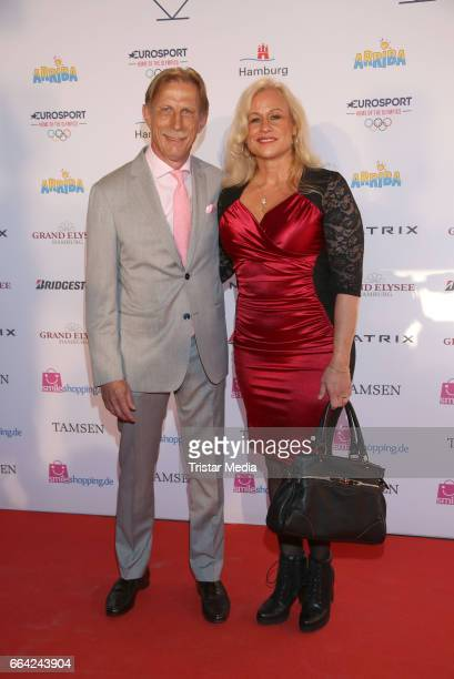 Christoph Daum and his wife Angelika Daum attend the German Sports Journalism Award 2017 at Grand Elysee Hotel on April 03 2017 in Hamburg Germany