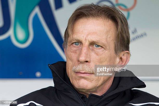 Christoph Daum coach of Club Brugge KV during the Belgian Jupiler Pro League PlayOff Group 1 match between KAA Gent and Club Brugge KV held at the...