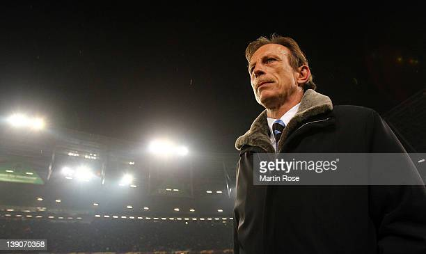 Christoph Daum head coach of Brugge looks on before the UEFA Europa League first leg round of 32 match between Hannover 96 and Club Brugge KV at AWD...