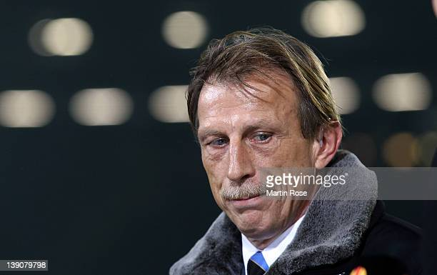 Christoph Daum head coach of Brugge reacts before the UEFA Europa League first leg round of 32 match between Hannover 96 and Club Brugge KV at AWD...