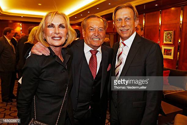 Christoph Daum Margit MayerVorfelder and Gerhard MayerVorfelder pose during the celebration of the 80th birthday of Gerhard MayerVorfelder at the...