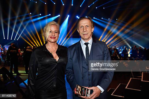 Christoph Daum poses with his wife prior to the WBA Super Middleweight World Championship fight at KoenigPilsner Arena on February 20 2016 in...