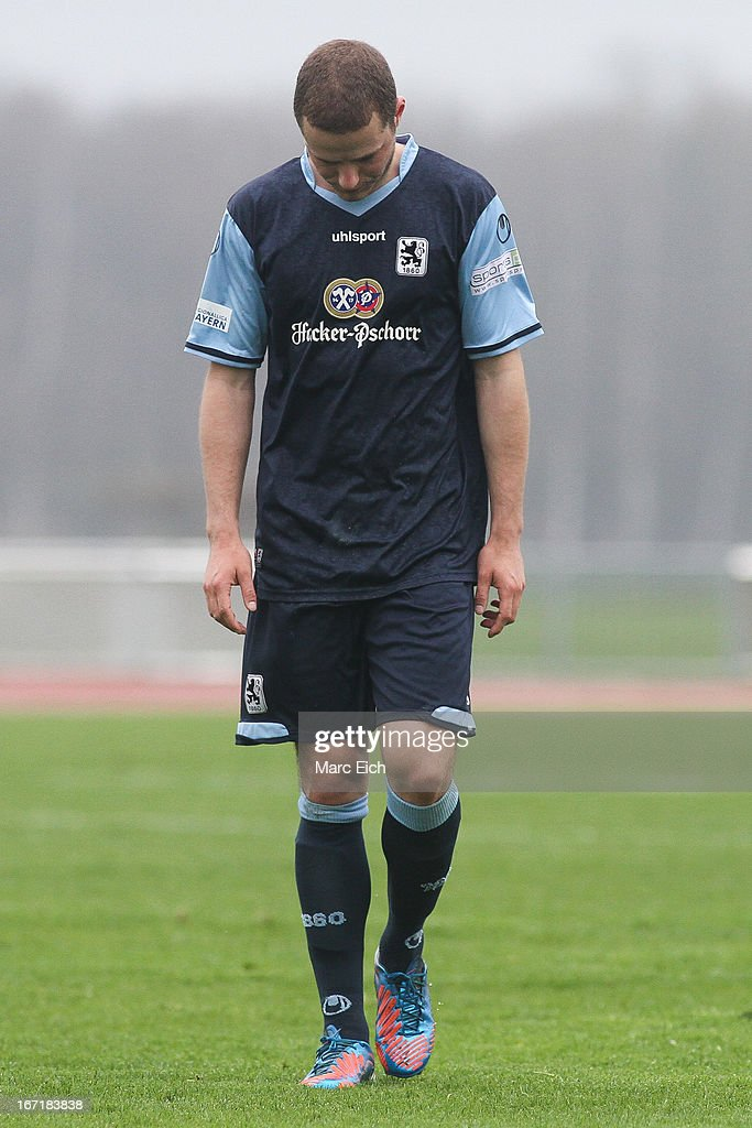 Christoph Dinkelbach of Muenchen shows his disappointment after the first part of the Regionalliga Bayern match between FV Illertissen and 1860 Muenchen II at Voehlinstadion on April 20, 2013 in Illertissen, Germany.