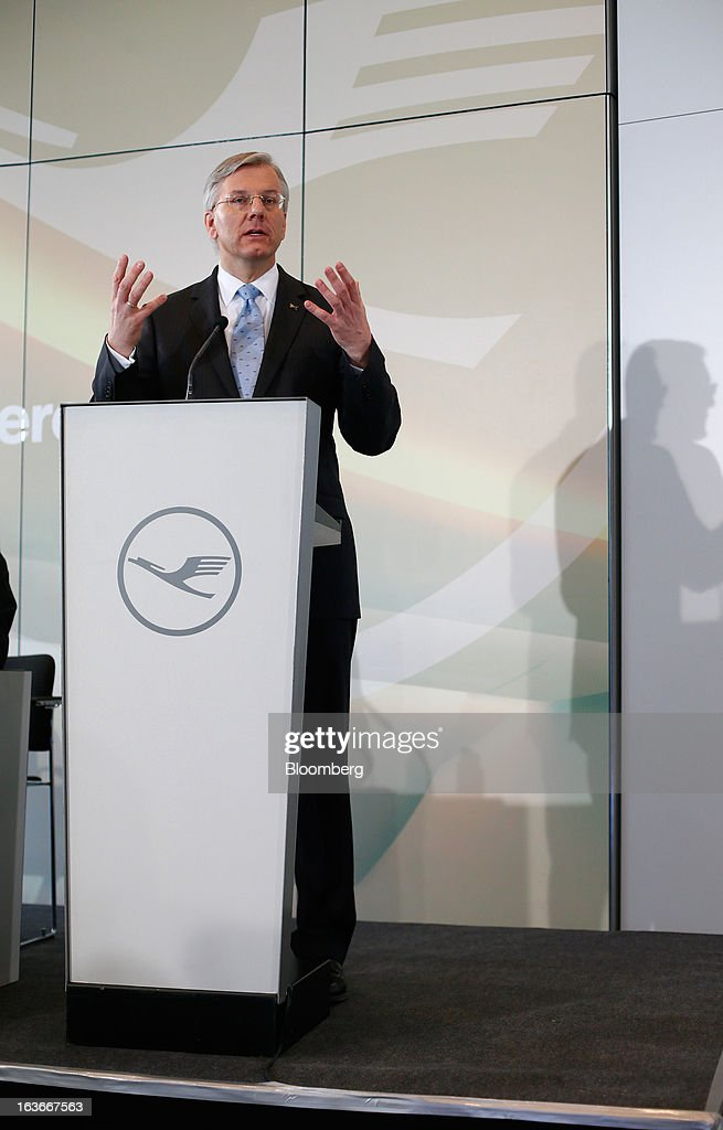 Christoph Franz, chief executive officer of Deutsche Lufthansa AG, speaks during a news conference to announce company results in Frankfurt, Germany, on Thursday, March 14, 2013. Deutsche Lufthansa AG agreed to renew its short-haul fleet with 100 mostly fuel-efficient jets from Airbus SAS, as the airline seeks to cut kerosene costs that constitute its single biggest expense. Photographer: Ralph Orlowski/Bloomberg via Getty Images