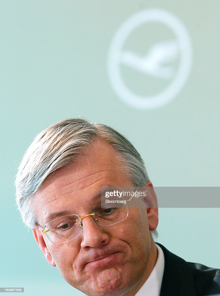 Christoph Franz, chief executive officer of Deutsche Lufthansa AG, reacts during a news conference to announce company results in Frankfurt, Germany, on Thursday, March 14, 2013. Deutsche Lufthansa AG agreed to renew its short-haul fleet with 100 mostly fuel-efficient jets from Airbus SAS, as the airline seeks to cut kerosene costs that constitute its single biggest expense. Photographer: Ralph Orlowski/Bloomberg via Getty Images